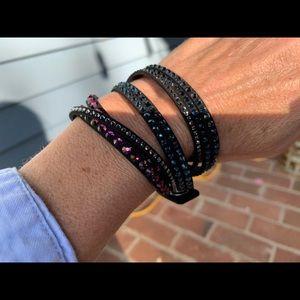 Swarovski crystal and suede wrap bracelet